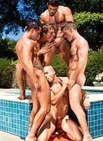 Rod Daily, Landon Conrad, Paul Wagner, Marcus Mojo, Cody Cummings, Johnny Torque and Anthony Romero gay orgy