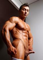 Brunette bodybuilder Chris Bortone shows his perfect muscle body