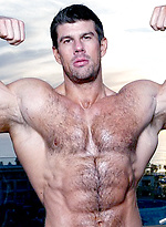 Sunset. Zeb Atlas shows his perfect muscle body.