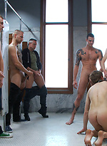 Innocent stud gets used and suspension fucked in a public toilet.